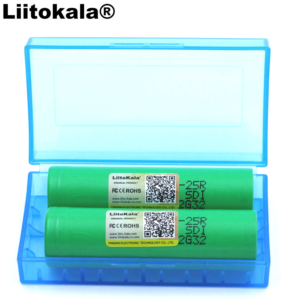 2PCS <font><b>Liitokala</b></font> New <font><b>18650</b></font> 2500 mAh Rechargeable battery 3.6V <font><b>25R</b></font> INR18650 discharge batteries 20A + Storage box image