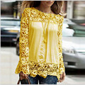 5XL tamanho grande 2015 Moda Feminina Lace Manga comprida Blusas de Chiffon Camisa de Crochê camisa blusa Encabeça blusas femininas plus size