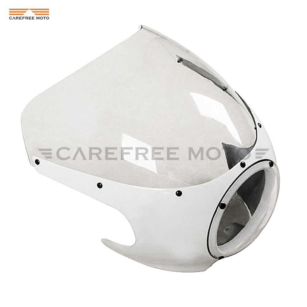 купить 1 Pcs Motorcycle White Cafe Racer Headlight Fairing Windscreen Moto Front Windshield Case for Harley Sportster XL 883 Dyna по цене 6580.8 рублей