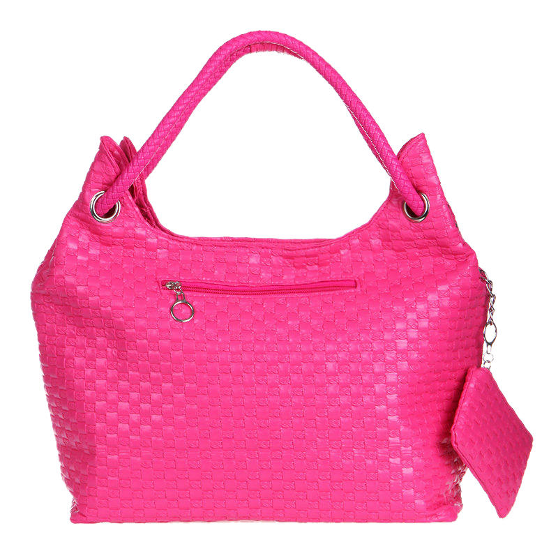 NEW Women Solid color Weaving fashion single shoulder Bags Pink