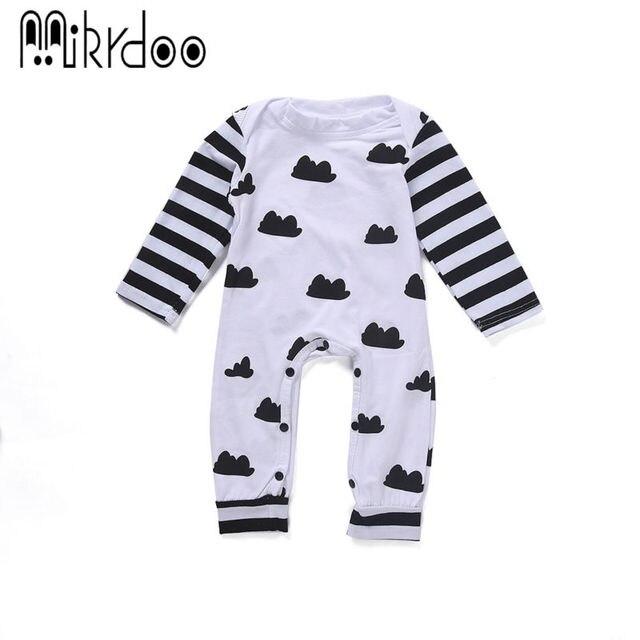Baby boy девушка одежда дети с длинным рукавом комбинезон облако полосатые младенческой комбинезон малыша комбинезон прекрасные милые одежда для новорожденных комплект