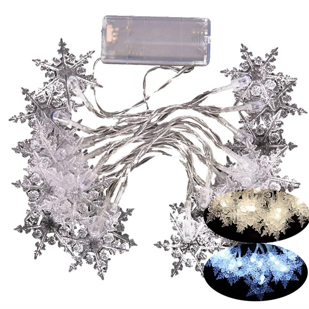2,1 Mt 20 LED Schneeflocke Form Lichterketten Xmas Party Hochzeit Garten Dekoration Lampe Weihnachten Licht -- M25