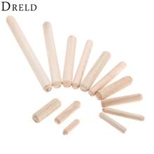 DRELD 50-200 шт деревянный дюбель ящик шкафа круглая рифленая деревянная поделка дюбель штифты стержни набор мебельный фитинг M6 M8 M10