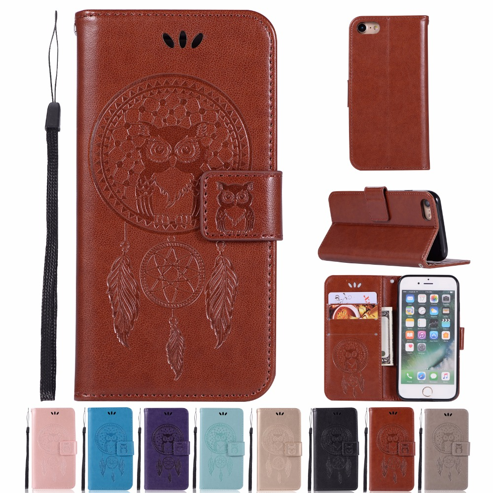 AIGLAT Case For Apple iPhone 6 6S Plus PU Leather Case Stand Function Card Holder Embossed Owl Magnetic Flip Wallet Purse Case