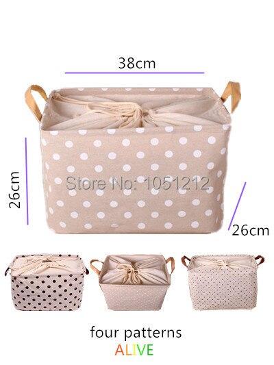 38*26*26cm 1pc Linen Cotton Storage Basket Toy Storage Bags Magazine  Clothing Zakka