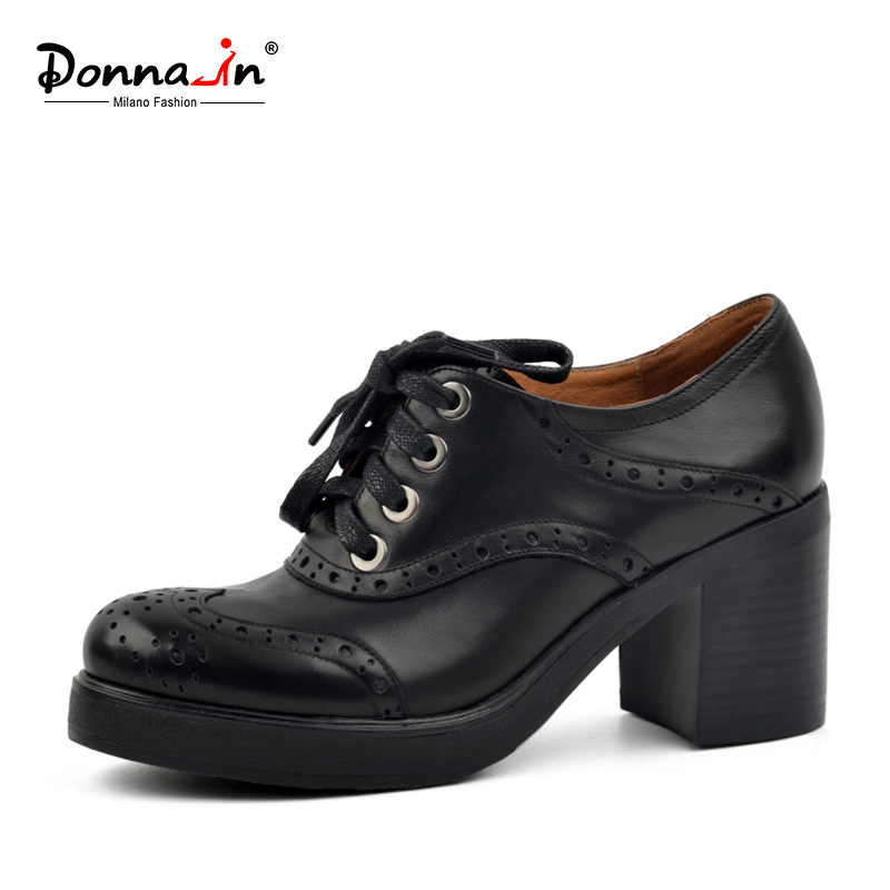 Donna-in Genuine Leather Shoes Women Lace-up Black Platform Ladies Shoes Brogue Carved Fashion Pumps Thick High Heels donna in pumps women black genuine leather high heels platform round toe thick heel women shoes new fashion sexy ladies pumps