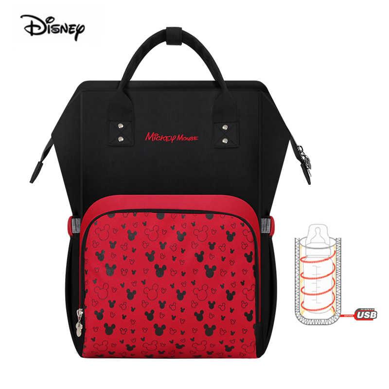Bolsa para pañales de Minnie de DISNEY, con aislamiento de botella USB, gran capacidad, mochila de maternidad para lactancia de bebé, bolsa de viaje para madres