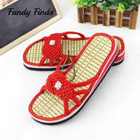 Latest Chinese Style Hand Woven Women Summer Slids Beach Casual Wedges Bamboo Outwear High Quality Soft Knitted Women Sandals