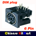 100 pçs/lote MIni Teclado e Mouse PS/2 Fêmea de 6 Pinos DIN Conector plug (com o botão direito do ângulo) Livre grátis # J243