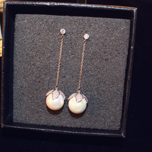Fashion Jewelry Imitation Pearl Tassel Drop Earrings  Simulated Long Pearls For Wedding Party Gift
