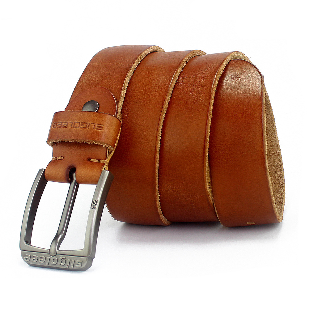 GEERSIDAN 100% cowhide genuine leather belt for men Strap male pin buckle vintage jeans cowboy Casual designer brand men belt