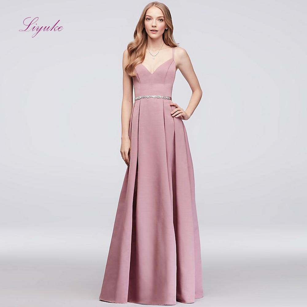 Liyuke A line   Bridesmaid     Dress   Chiffon Long   Dress   Spaghetti Straps Beading Sashes Customized Free Shipping