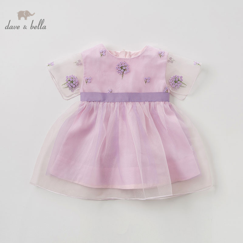 DB10143 dave bella summer baby girl s princess cute floral dress children party wedding dress kids