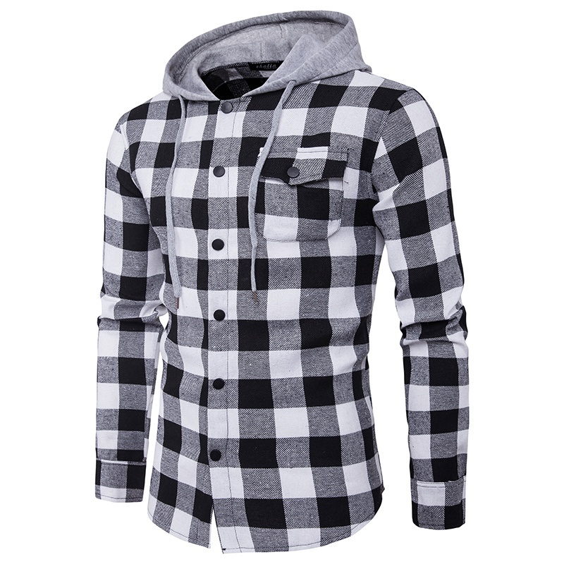 ZOGAA 2019 Fashion Hoodie Cotton Full Sleeve Hooded Plaid Streetwear Man Casual England Style Pocket Design Cowboy Hoodies