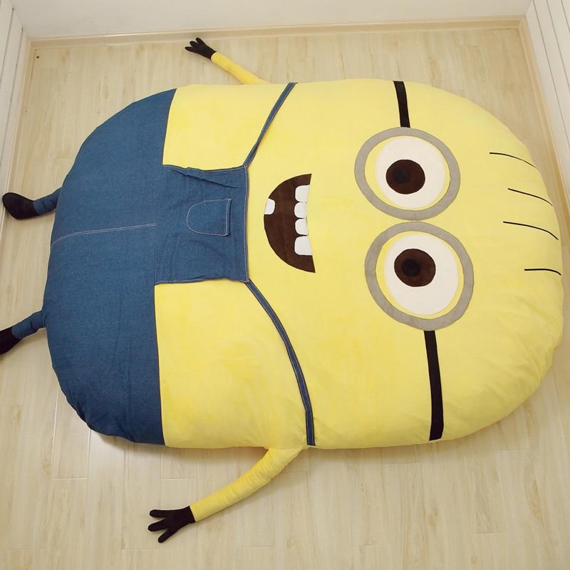 Factory Outlet Minions Cartoon Mattress Cushion Plush Minion Mattress Bed Despicable Me 2 Totoro Double Bed Sleeping Bag Tatami