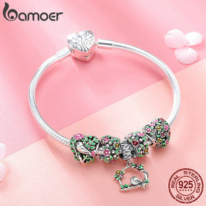 Image 5 - BAMOER Real 925 Sterling Silver Spring Flower Colorful Enamel Charm Bracelets & Bangles for Women Sterling Silver Jewelry SCB804