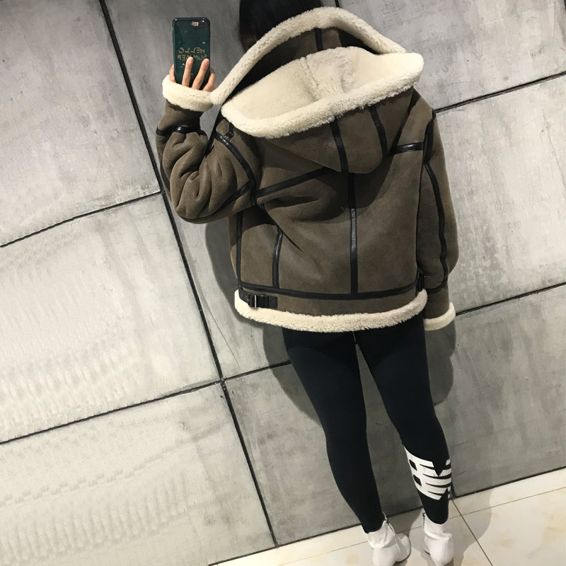 ladies suede jacket women lamb fur jacket suede jacket hooded