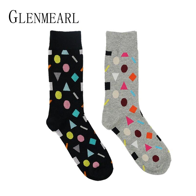 5 pairs/lot Men Socks Cotton Brand Quality Spring Fall Character Pattern Coolmax Geometric Colorful Funny Happy Men Crew Socks