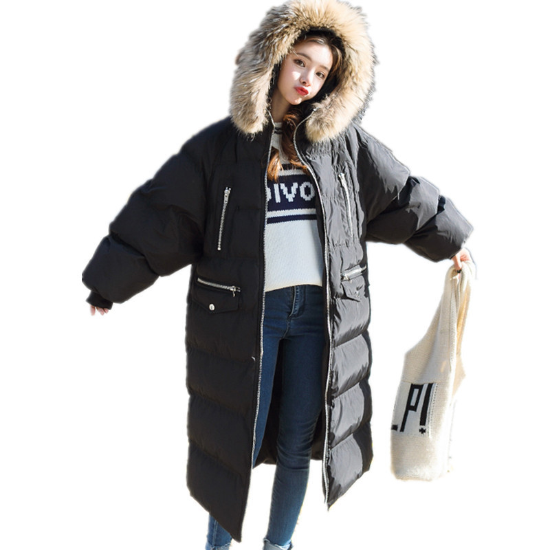 Cotton Padded Real Fur Thick Hooded Loose Solid Color Long Parka Femme Casual Chaqueta Mujer High Quality Winter Coat TT3348 winter thicker large fur collar hooded cotton jacket women warmer padded parka high quality wadded ukraine coat chaqueta mujer