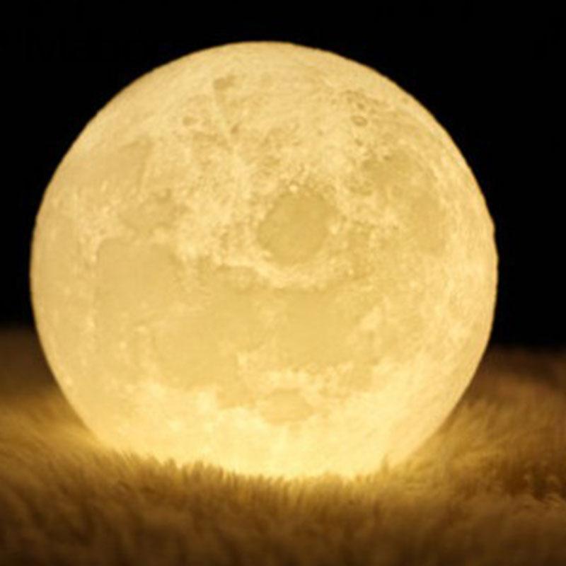 18CM Colorful 3D Night Light Moon Lamp Desk Table Lamp Moonlight Lunar Gradual Home Decoration Gift