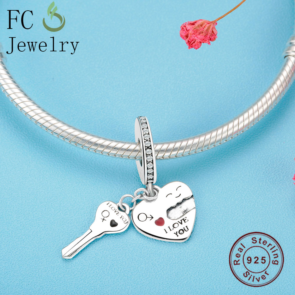 FC Jewelry Love Lock Key Charm Pendant With Zircon Fit Pandora Charm Bracelet & Necklace Hot Selling DIY New Wholesale