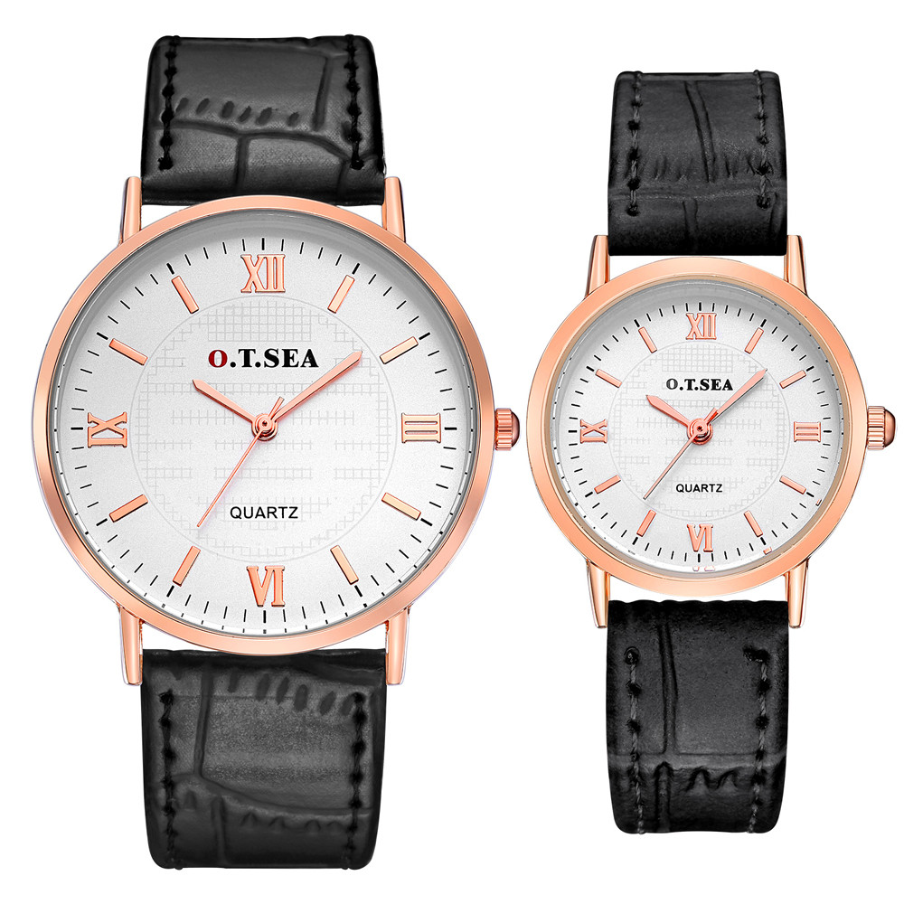 Fashion Men Women A pair Couple Watch Luxury Gold plated Lover's Watch Lady Strap Couple Quartz Wrist Watches relogio feminino #