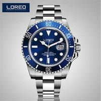 LOREO 40mm Sapphire Glass Black Dial Automatic Men S Watch 200M Waterproof Luminous Auto Date Erkek