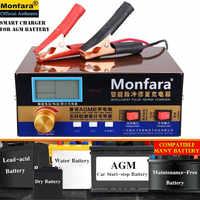 Cargador de batería automático inteligente de 12 V/24 V para coche de 400W cargador de batería LCD de 5 etapas de pulso inteligente de reparación de plomo y batería de litio húmeda y seca 6-400AH