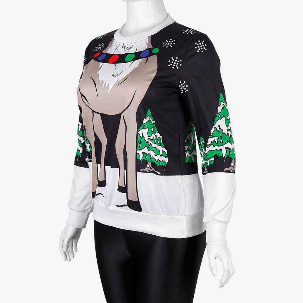 2018 الساخن بيع إمرأة السيدات س الرقبة عيد الميلاد الرقمية الطباعة طويلة Sleevel قمم بلوزة ل جديد الخريف الشتاء