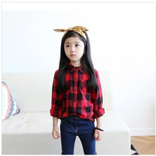 New 2014 Spring Autum Kids Wear Girl Red Plaid Long Sleeve Shirts Children Pure Cotton