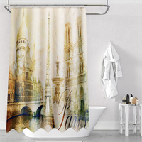 180x180cm Bathroom Polyester Bath Shower Curtain Eiffel Tower Waterproof Mildew for Shower Room or Toilet Home Decor
