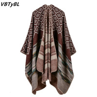 VBTyBL Fall/winter 2018 New style Plaid Scarf Thickened Warm Cashmere Shawls and Scarves Winter Women Scarf 150*130cm Skyour