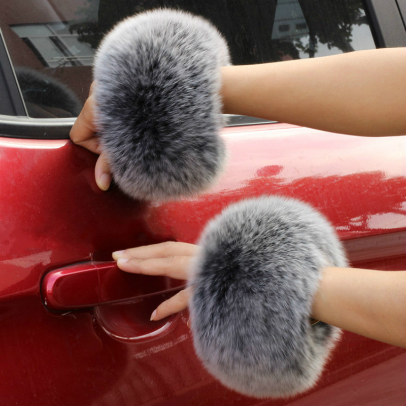 Fox Fur Cuffs Customized 2018 Winter Genuine Fox Fur Cuff Arm Warmer Lady Bracelet Real Fur Wristband Glove