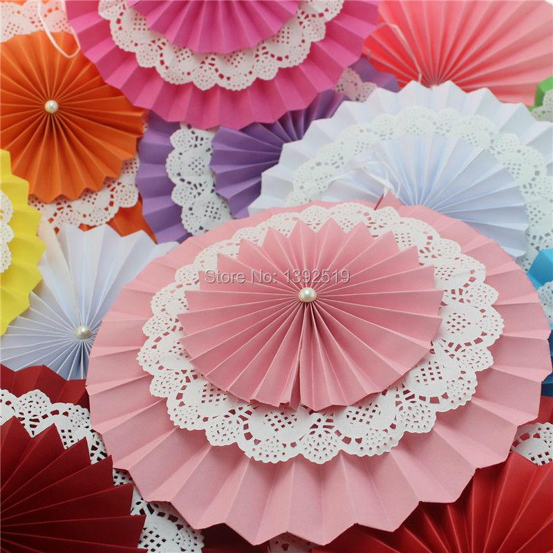 70 шт. 6 ''15 см Бумага в розочках розовый цвет бумажные вееры вечерние фоновое украшение комплект цветы с кружевом