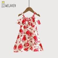 WeLaken Off Shoulder Dress Ruffles Floral Pattern Children S Clothing 2017 Summer Beachwear Fashion Kids Dresses