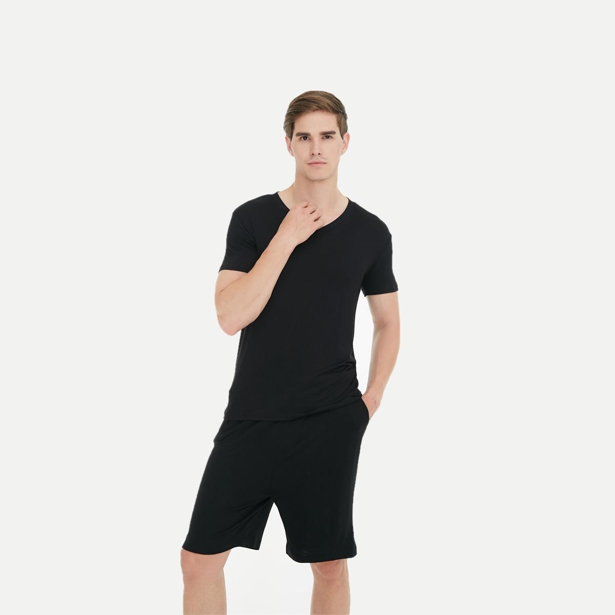 Men's Pajamas Solid-Color Sleepwear Short-Sleeved-Shorts Home-Set Summer Casual V-Neck