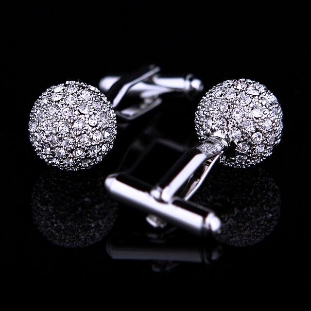KFLK Jewelry Brand Silver Crystal Fashion Cuff link Button High Quality shirt cufflink for mens Luxury Wedding Free Shipping 1