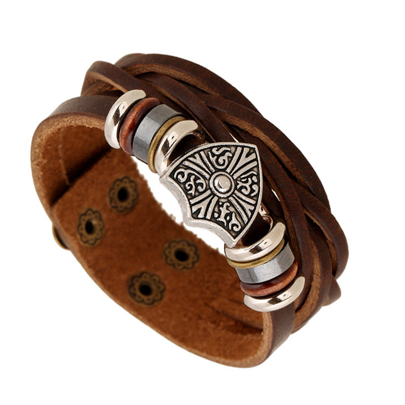 New Arrival Shield Charm Beads Men Bracelet Cow Leather Woven Woven Button Buckle Bracelets for Boy Christmas Gift Male Jewelry