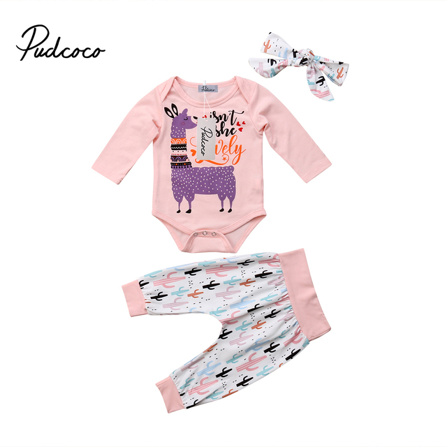 067132bd7ee Cute Newborn Baby Girl Boy Clothes Long Sleeve Romper Letter Jumpsuit  Toddler Girls Cactus Print Pant Headband Outfits Set 0-24M