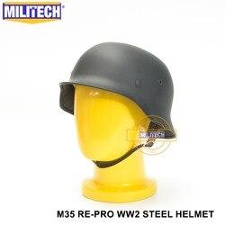 MILITECH WW2 niemieckiego szary M35 stali nierdzewnej kask II wojny światowej M35 szary niemieckiego Repro kask bezpieczeństwa motocykl motor 2 wojny światowej stali nierdzewnej kask helmet safety safety helmethelmet ii war -