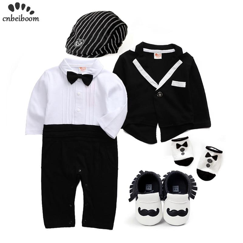 (6pcs/set) Wedding Baby Clothing Set Newborn Baby Clothes Romper +coats+shoes+socks+hats+tie Bow Boys Clothes Sets Party Dresses