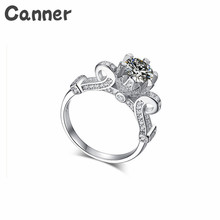 Canner 925 Silver Round AAA Zircon Engagement Rings For Women Color Wedding Female Austrian Crystals Jewelry