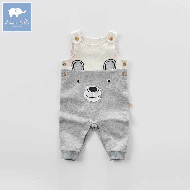DBA6442 dave bella spring baby boys fashion gray bear overalls children toddler clothes baby cute overalls db5941 dave bella autumn baby boys toddler stars print overalls children high quality overalls infant denim clothes