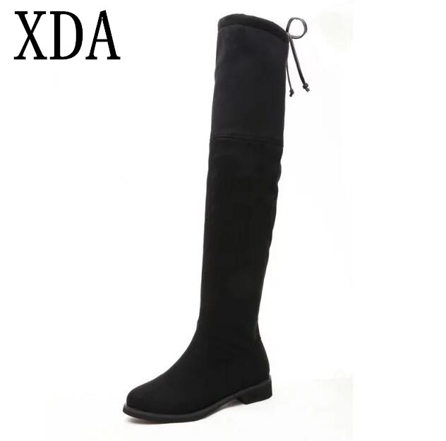 XDA NEW Hot Quality Women boots elastic fabric suede Knee-high boots Flat Boots Comfortable Thigh High Boots