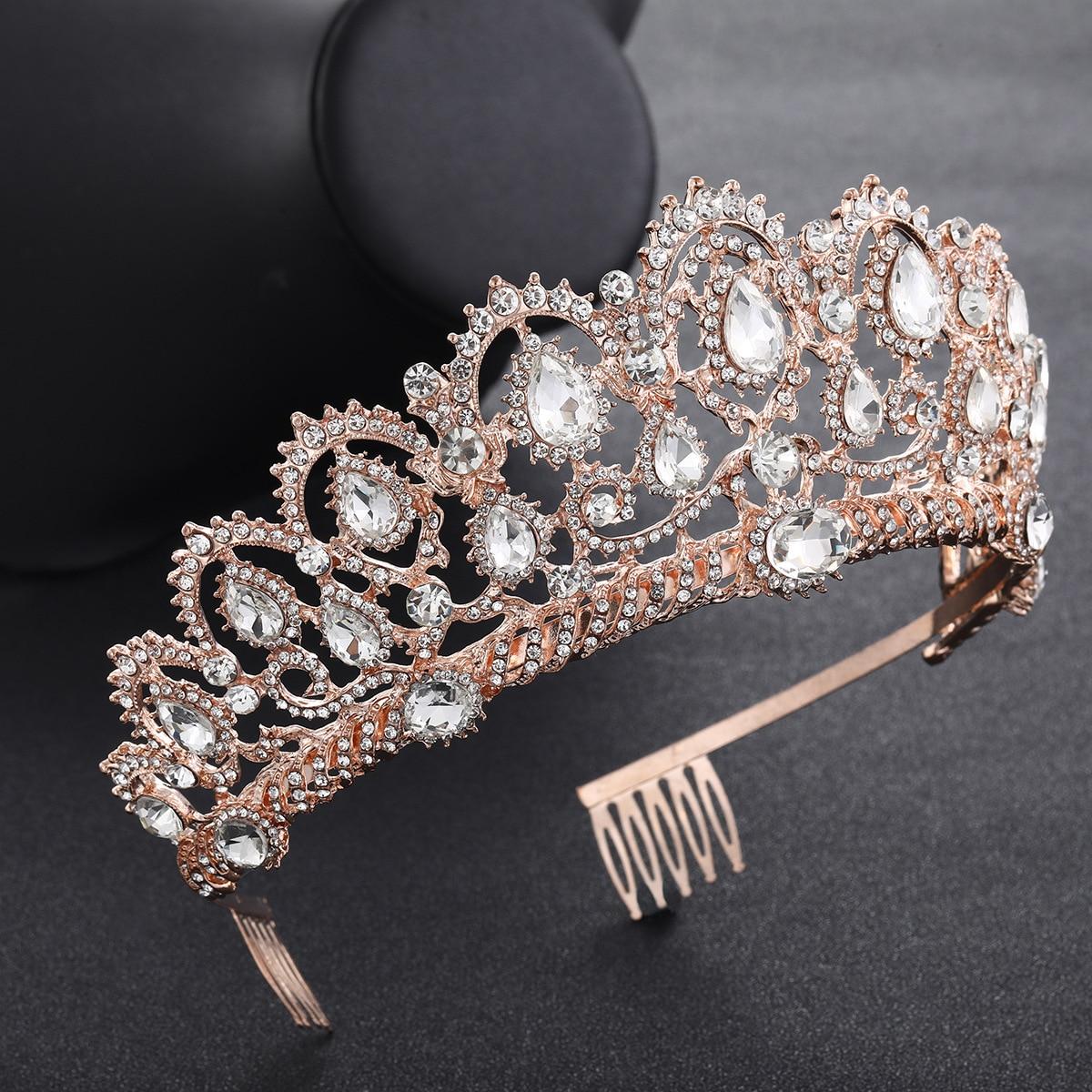 Vintage Wedding Bride Queen Colours crystal Golden Crown Tiara Hair Accessories