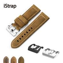 IStrap Bracelet de montre Unique, en cuir de veau, 22mm 24mm 26mm, bracelets de montre marron, pour Pane rai