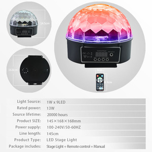 Image 2 - Atotalof DMX etap światła kryształ magiczna kula dyskotekowa RGB lampa sceniczna LED kontrola dźwięku DMX512 oświetlenie na imprezę dla KTV klub Bar ślub