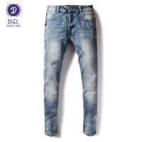 Italian Style Fashion Mens Jeans Blue Color Slim Fit Elastic Denim Ripped Jeans For Men DSEL Brand Biker Jeans Men Buttons Pants