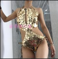 Fashion sexy Mirror DJ costumes Gold Stage costumes for singers Bodysuit