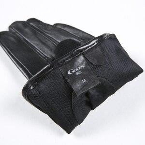Image 5 - Gours frauen Winter Echtem Leder Handschuhe Neue Mode Marke Damen Schwarz Ungefüttert Fahren Handschuhe Ziegenleder Handschuhe GSL010